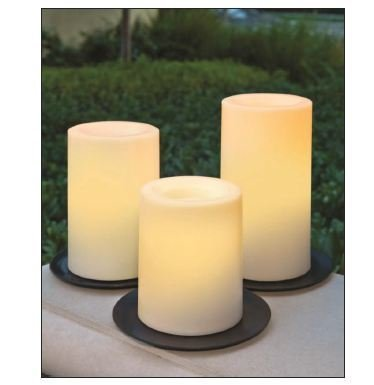 Inglow Cgt20335Wh3 Flameless Candles Round Outdoor Candles With Timer, White, 3-Pack
