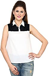 Rvestir Women's Poly Crepe Tunic Top (OM098_L, White)