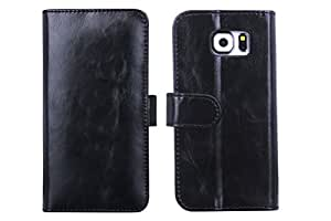 BRG 28 Samsung Galaxy S6 Wallet Case (5.1 Inch), Made of Premium Pu Leather in Stand Feature with Credit Card Slot Holder (black)