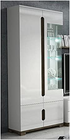 Lorenz High Gloss White Display Cabinet 1 Glass Door (P9RXLS 22) by furniturefactor