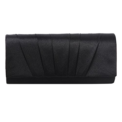 Damara Womens Satin Pleated Clutch Bag Wedding Bridal Prom Evening Handbag,Black