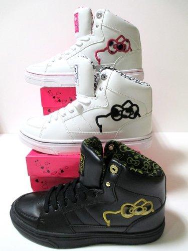 [Hello Kitty cute sneakers: Sanrio [Hello Kitty] Hello Kitty L003 dance sneaker black / gold / white / black / white / pink (22.5, white/black)