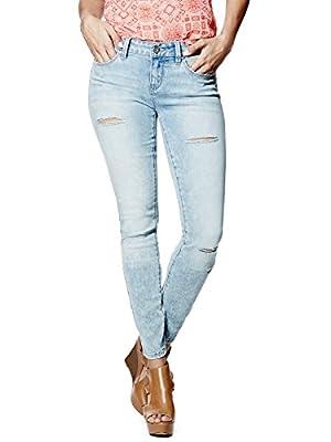 GUESS Women's Sienna Curvy Skinny Jeans in Light Destroy Wash