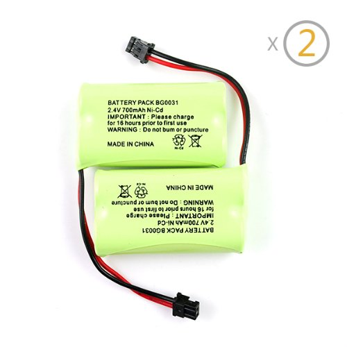 IC ICLOVER, New 2 Pack 2.4V 700mAh Cordless Home Phone NiCd Replacement Battery for BT904, BP904, BT1007, BT1015, BBTY0460001, BBTY0510001, BBTY0624001, BBTY0700001