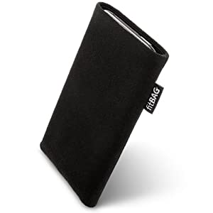 fitBAG Classic Black custom tailored sleeve for Samsung Galaxy Note GT-N7000. Genuine Alcantara pouch with integrated MicroFibre lining for display cleaning