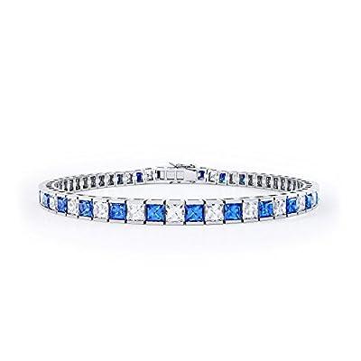 Princess Cut Sapphire and Diamond White Gold Tennis Bracelet