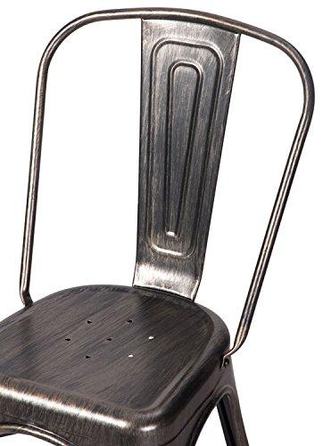 Merax High Back Steel Stackable Vintage Metal Dining Chair, Golden Black (Set of 2) 4