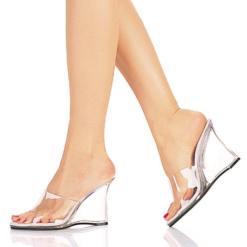 Pleaser USA - SNAPSHOT-401, 4'' Heel, Clear or Cork Wedge Sandals
