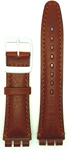 New Condor 19mm (22mm) Sized Genuine Leather Strap Compatible for Swatch® Watch - Tan - Chrome Buckle - SC14_03