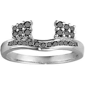 Sterling Silver Ring Wrap (0.42 crt. Black Cubic Zirconia).