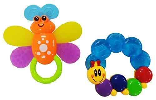 Cece Caterpillar Baby Teether + Bevee Butterfly Rattle & Water Filled Teether. Chill and Teething Toys + Ring Soothers For Infants & Toddlers. Set Of 2. By Bevee Baby. Premium Quality. FREE Children's EBook. Money Back Guarantee. - 1