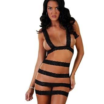 Black Women Sexy lingerie sleepwear attractive transparent ...