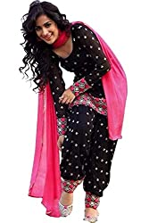 Regalia Ethnic New Collection Black And Pink Dot Printed Unstitched Dress Material With Matching Dupatta