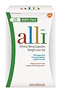 alli® Weight Loss Aid, Orlistat 60mg Capsules,120ct Refill Pack