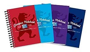 Oxford Campus Lot de 10 carnets de notes à spirale Couleurs assorties Format A6