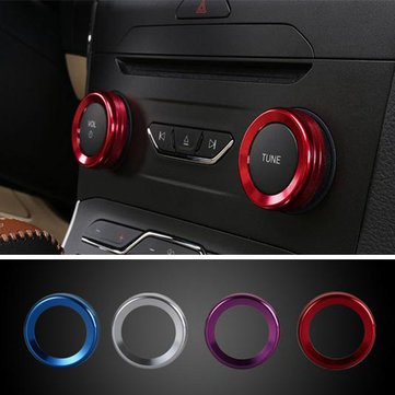 4pcs/Set-Cars-Alu-Decoration-Stereo-Knob-Ring-Air-Conditioning-Knob-Ring-Circle-for-For-Ford-Edge