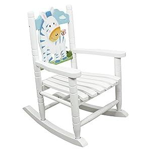 Teamson Kids Childrens Zebra Jungle Rocking Chair Wooden Rocker Seat ...