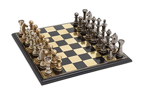 Deco 79 Metal Wood Chess Set, 17 by 6-Inch, Mahogany Brown 2
