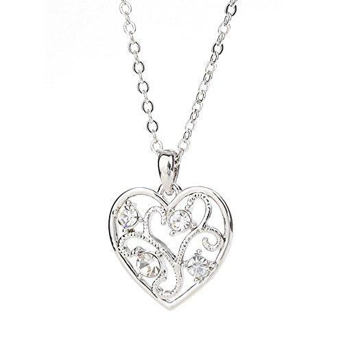 Winter's Secret Fashion Color Hollow Love Heart Tree Shape Cross Chain Silver Pendant Necklace