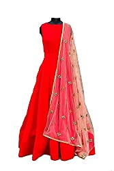 Akshar creation's banglori red semi-stitched dress material(s-4_red suit)