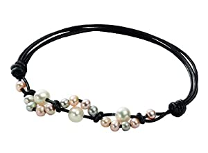 Elements Ladies' B3842 Twisted Leather Adjustable Bracelet with Two Tone Pearls