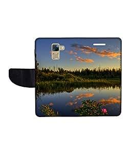 KolorEdge Printed Flip Cover For Huawei Honor 7 Multicolor - (1478-50KeMLogo11227Honor7)