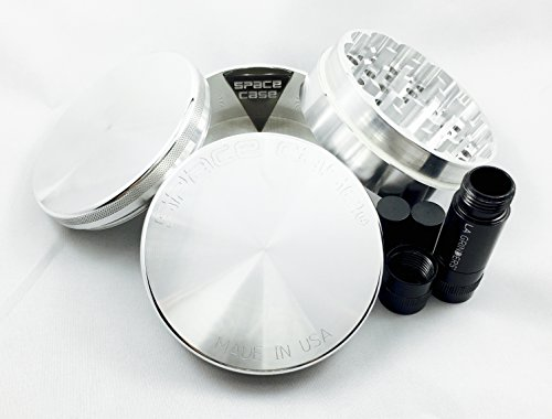 Space Case 4 Piece Aluminum Herb Grinder Large w/ La Grinders Pollen Press (Space Case 4 Piece Large compare prices)