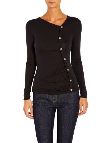 Morgan - T-shirt a punta tonda, Donna, Nero (Noir), M