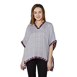 vasstram Stripes Grey Flutter Sleeves Women's Top