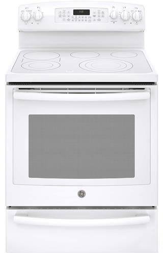 """GE PROFILE SERIES PB930THWW 30"""" Freestanding Electric Convection Range with 5 Elements, Warming Drawer, True European Convection, Auto Self-Clean and Brillion-Enabled Smartphone Control"""