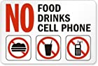 SmartSign Plastic Sign, Legend No Food No Drinks No Cell Phone with Graphic, 7 high x 10 wide, Black/Red on White