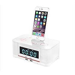 Plater A8 Touch Digital Dual Alarm FM Clock Radio Bluetooth 4.0 Speaker, Battery Backup, Snooze and Sleep Timer, Large Display, NFC Compatibility, with Lightning Dock for Iphone/Ipad/Ipod - White