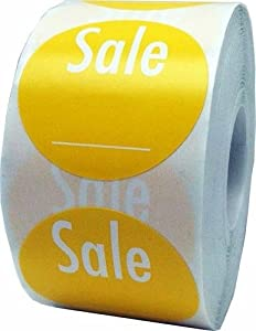 """Yellow Sale Labels with Write Your Own Price - Retail Stickers for Store Clearance Items - 1.5"""" Round - 500 Total Stickers Per Roll"""
