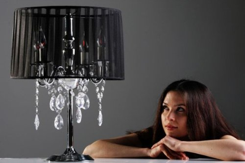 Casa Padrino Baroque stool lamp with crystal deco, 4-burner, black, nostalgic table lamp, light bulb