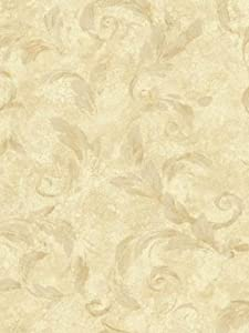 Wallpaper Warner by Brewster Steves Color Collection Yellow Acanthus Brushstroke AL13717
