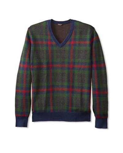 J. McLaughlin Men's Longfellow Long Sleeve V-Neck Jacquard Pullover Sweater