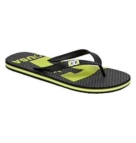 Dc Men'S Spray Logo Flip Flop,Black/Soft Lime,9 M Us front-890613