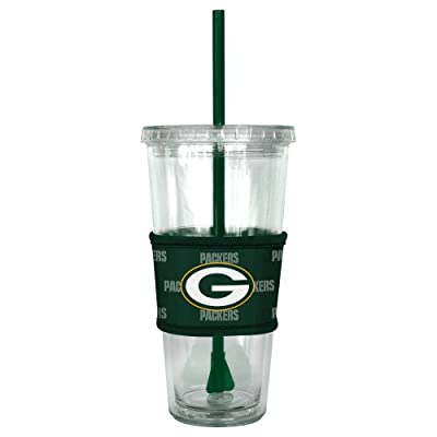 NFL Green Bay Packers Tumbler with Neoprene Sleeve and Straw, 22-Ounce