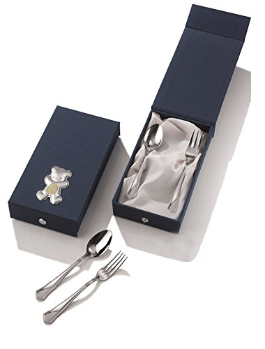 Silver Touch USA Baby Toddler Flatware Utensil Set With Sterling Silver Bear, Arrow Edge