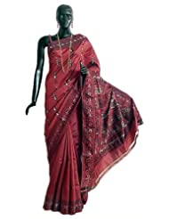 Wine Red Baluachari Silk Saree with All-Over Boota and Woven Mahabharata Scene on the Pallu and Border - Silk