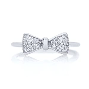 Rhodium Plated 925 Sterling Silver Cubic Zirconia Mini Bow Ring - Size 5