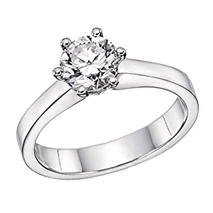GIA Certified 14k white-gold Round Cut Diamond Engagement Ring (0.71 cttw, K Color, SI1 Clarity)