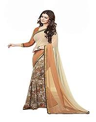 VinayTM Brown Cream Georgette Printed Lace Work Saree with Blouse Piece