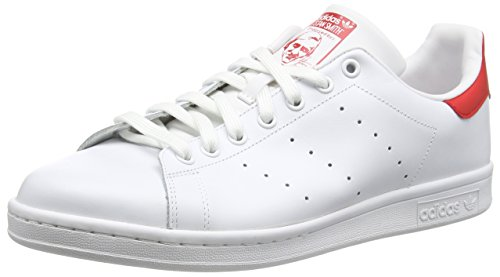 Adidas Stan Smith Scarpe Low-Top, Unisex adulto, Multicolore (Runwht/Runwht/Colred), 40 2/3