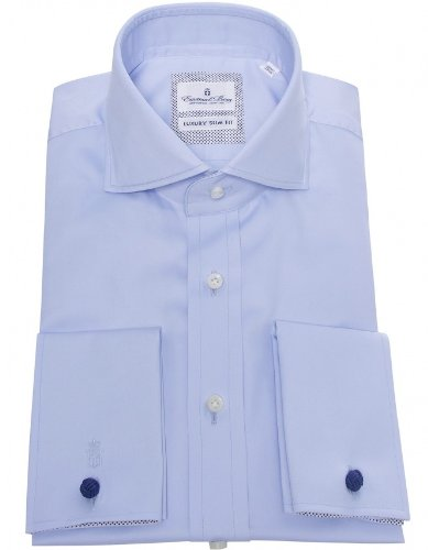 Emanuel Berg Men's Shirt Blue Slim Fit Formal UK 17