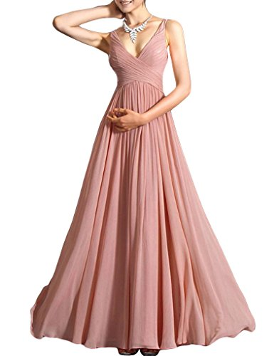 PARICI Women's Sexy Chiffon Bridesmaid Evening Gown Low-Cut Wedding Maxi Dress