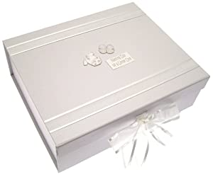 White Cotton Cards Naming Day Silver Clothes A4 Keepsake Box from White Cotton Cards