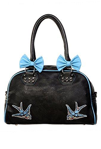 Banned rondini e borsetta con fiocchi, colore: blu nero