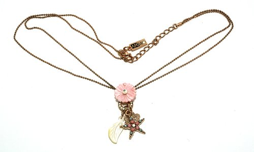 24K Rose Gold Plated Astonishing Chain from 'Flow' Collection Designed by Amaro Jewelry Studio Decorated with Star and Flower Elements, Ornate with Mother of pearl, Pink Shell, Amazonite, Quartz and Swarovski Crystals
