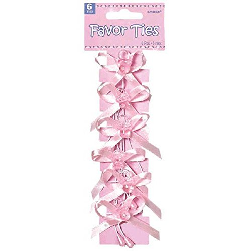 Amscan Chic Pacifier Baby Shower Party Favor Ribbon Ties (6 Count), Pink